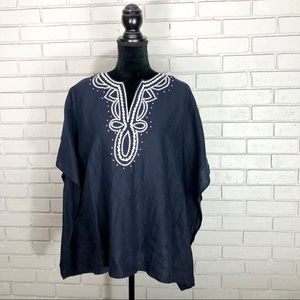 Talbots Women's Linen Embroidered Navy Tunic Top